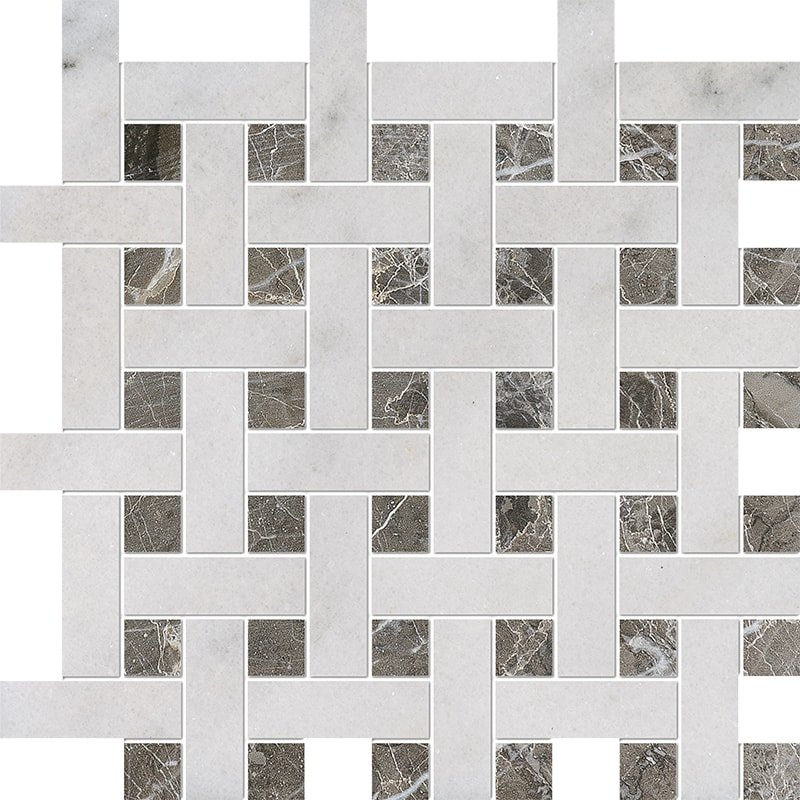 Avalon, Silver Drop Polished Basket Weave 1×3 Marble Mosaics 12 5/8×12 5/8