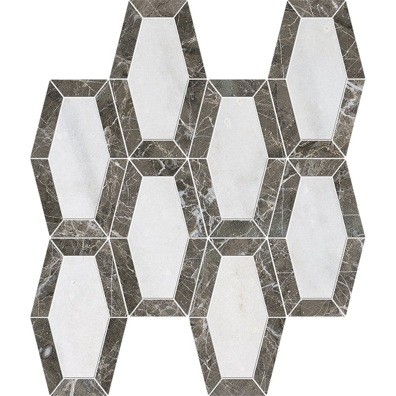 Avalon, Silver Drop Polished Lincoln Marble Mosaics 10 1/4×12 13/16