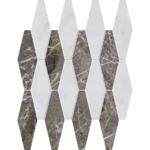 Avalon, Silver Drop Polished Rhomboid Blend Marble Mosaics 11x14 15/16