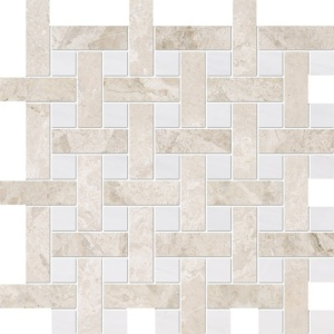 Diana Royal, Snow White Multi Finish Basket Weave 1x3 Marble Mosaics 12 5/8x12 5/8