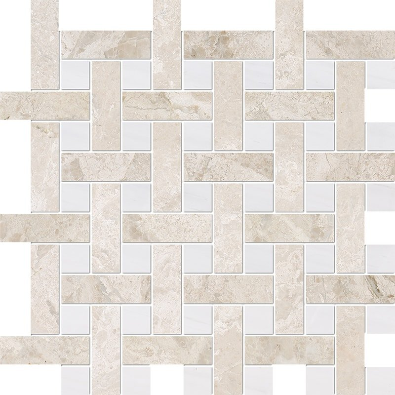 Diana Royal, Snow White Multi Finish Basket Weave 1×3 Marble Mosaics 12 5/8×12 5/8