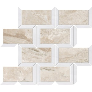 Diana Royal, Snow White Multi Finish Cascade Marble Mosaics 9 5/8x11 13/16