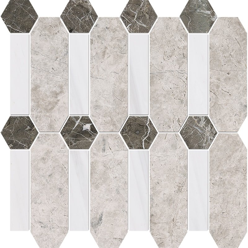 Silver Clouds, Snow White, Arctic Gray Multi Finish Pillar Marble Mosaics 13×13