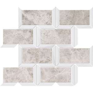 Silver Clouds, Snow White Multi Finish Cascade Marble Mosaics 9 5/8x11 13/16