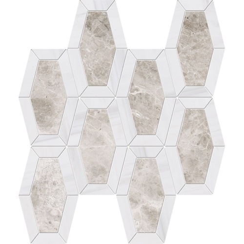 Silver Clouds, Snow White Multi Finish Lincoln Marble Mosaics 10 1/4x12 13/16