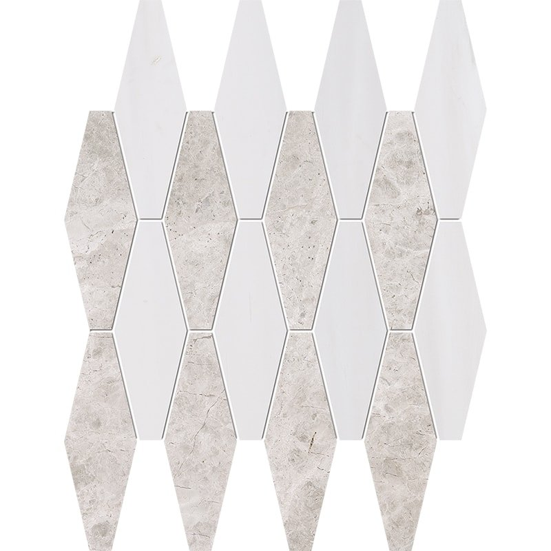Silver Clouds, Snow White Multi Finish Rhomboid Blend Marble Mosaics 11×14 15/16