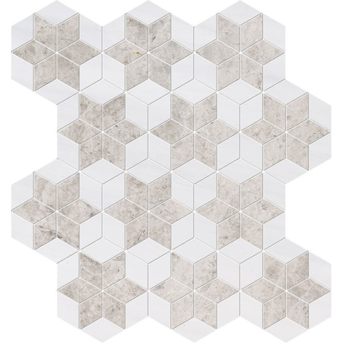 Silver Clouds, Snow White Multi Finish Stars Marble Mosaics 14 3/16x14 15/16