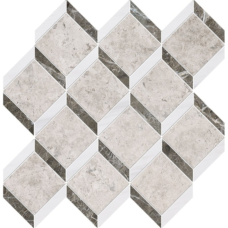 Silver Clouds, Snow White, Arctic Gray Multi Finish Steps 3d Marble Mosaics 14 9/16×14 15/16