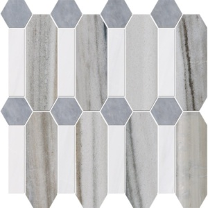 Skyline, Snow White, Allure Multi Finish Pillar Marble Mosaics 13x13