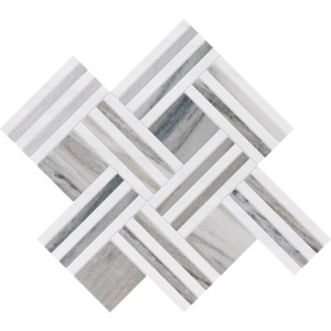 Skyline, Snow White Multi Finish Maze Basket Marble Mosaics 14 15/16x17 11/16