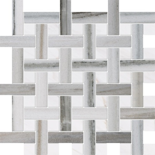 Skyline, Snow White Polished Basket Weave 1x3 Marble Mosaics 12 5/8x12 5/8