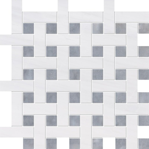 Snow White, Allure Multi Finish Basket Weave 1x3 Marble Mosaics 12 5/8x12 5/8
