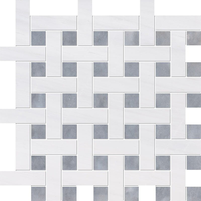 Snow White, Allure Multi Finish Basket Weave 1×3 Marble Mosaics 12 5/8×12 5/8