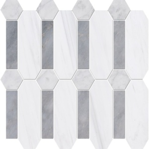 Snow White, Allure Multi Finish Pillar Marble Mosaics 13x13