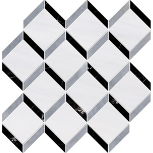 Snow White, Allure Multi Finish Steps 3d Marble Mosaics 14 9/16x14 15/16