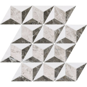 Snow White, Silver Clouds, Arctic Gray Polished Diamond 3d Marble Mosaics 15 3/8x13 3/4