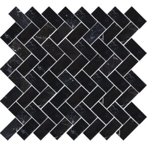 Black Polished Herringbone Marble Mosaics 12 1/8x13 3/8