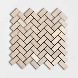 Desert Cream Honed Herringbone Marble Mosaics 12 1/8x13 3/8