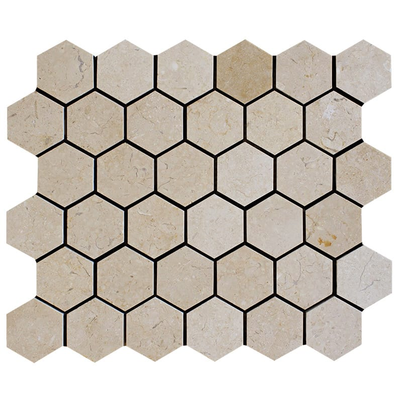 Sylvester Beige Polished Hexagon Marble Mosaics 10 3/8×12