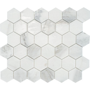 Calacatta Gold Royal Honed Hexagon Marble Mosaics 10 3/8x12