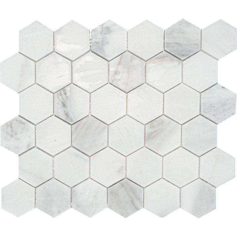 Calacatta Gold Royal Polished Hexagon Marble Mosaics 10 3/8×12