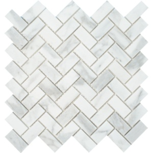 Calacatta Gold Royal Polished Herringbone Marble Mosaics 12 1/8x13 3/8