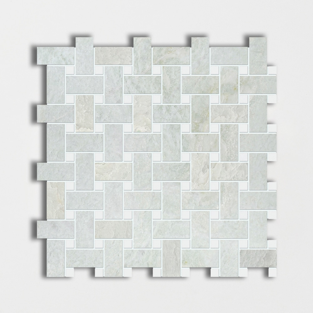 Ming Green&thassos White Polished 12x12 Basket Weave Marble Mosaics