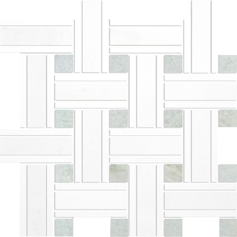 Elegant White Polished 12x12 Lattice Marble Mosaics