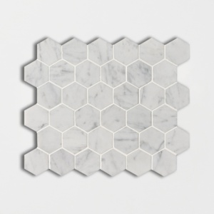 White Carrara C Honed Hexagon Marble Mosaics 12x12