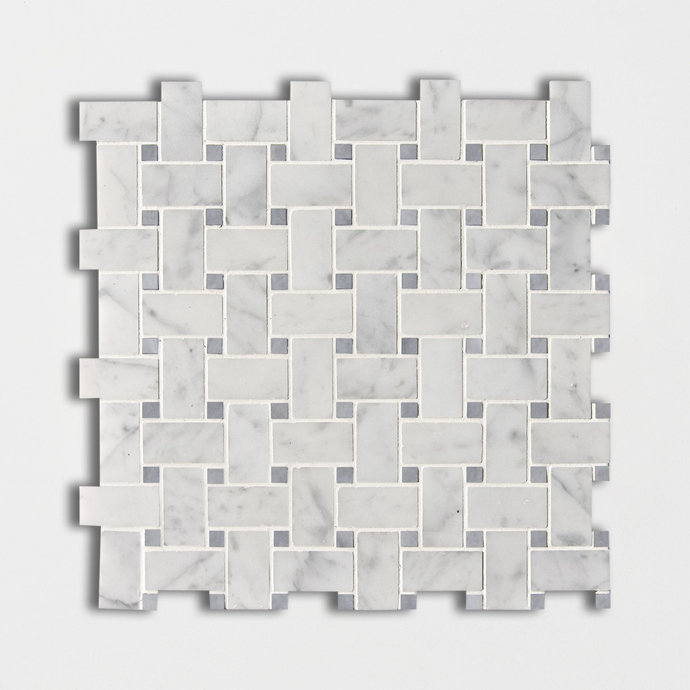 White Carrara Bardiglio Honed Basket Weave Marble Mosaics