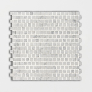 White Carrara C Honed Offset 5/8x5/8 Marble Mosaics 12x12