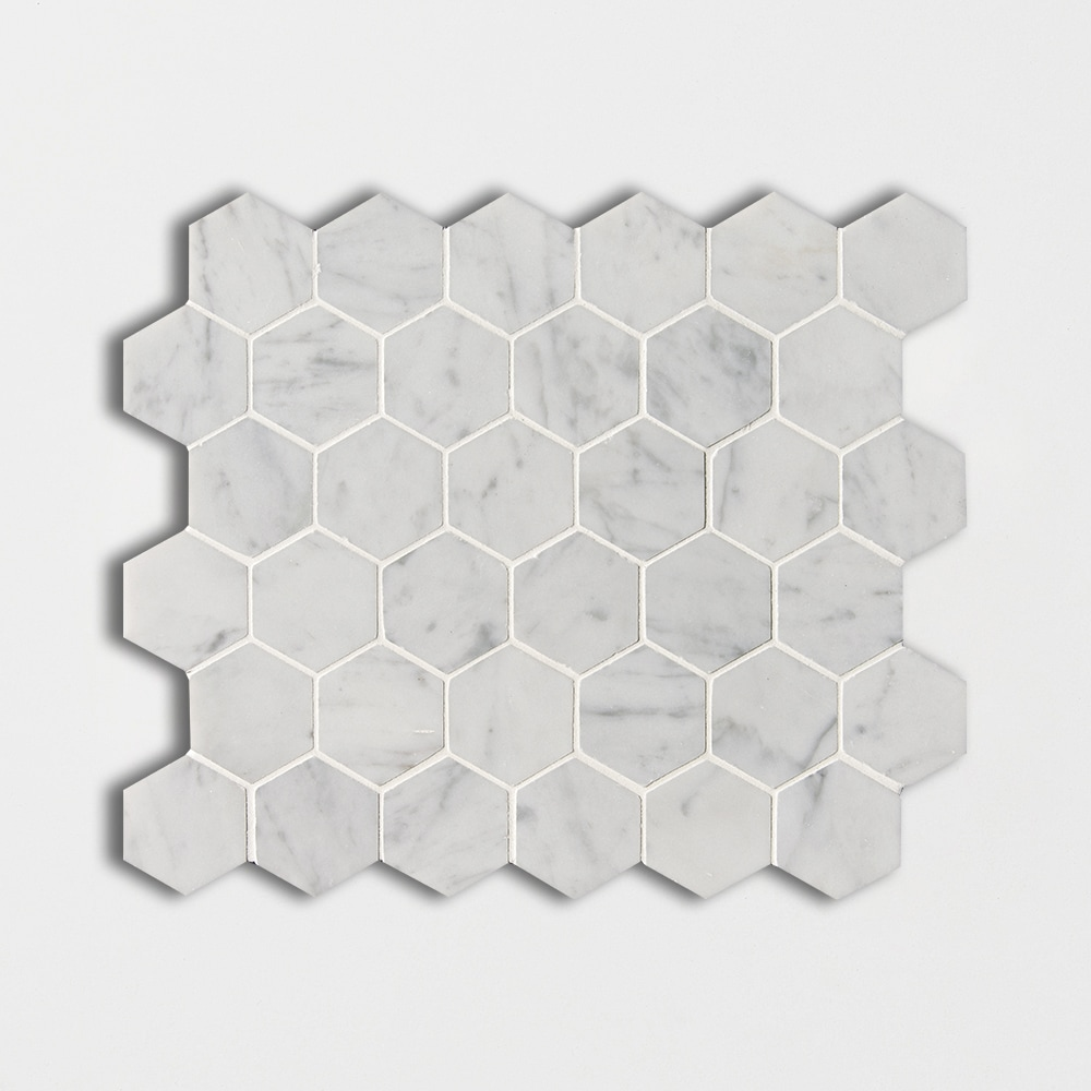 White Carrara C Polished Hexagon Marble Mosaics 12×12