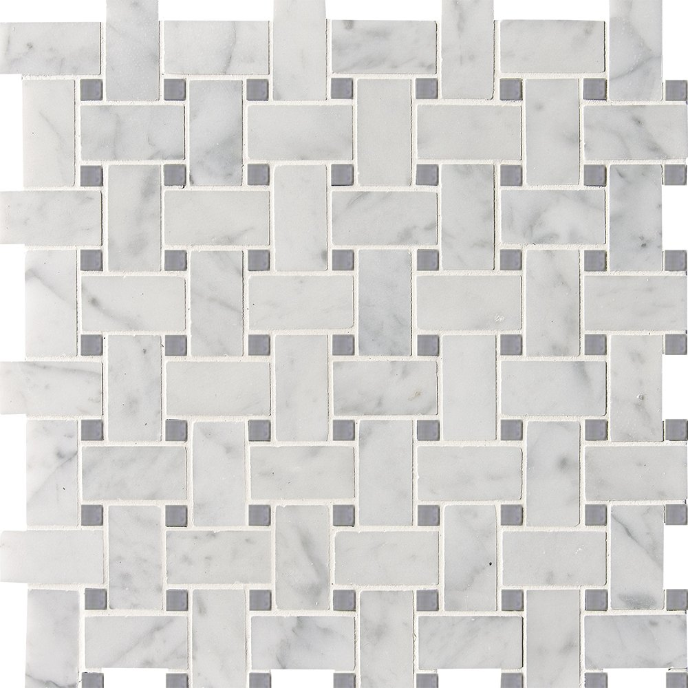 White Carrara Bardiglio Polished Basket Weave Marble Mosaics 12×12