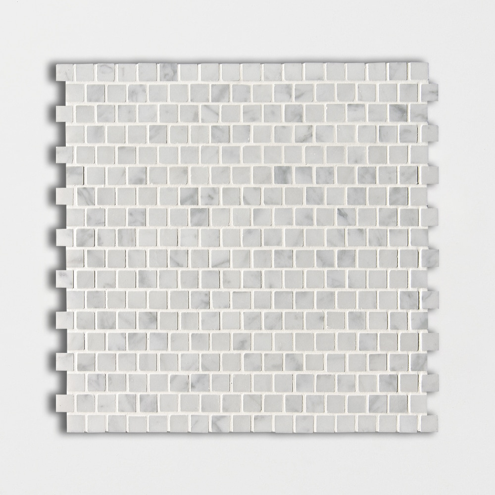 White Carrara C Polished 12x12 5/8x5/8 Marble Mosaics
