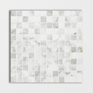 Calacatta Gold Polished 1x1 Marble Mosaics 12x12