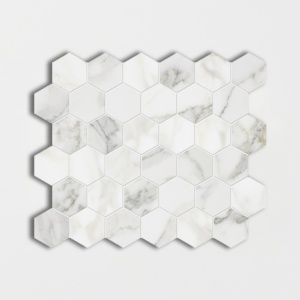 Calacatta Gold Polished Hexagon Marble Mosaics 12x12