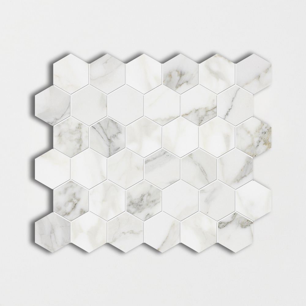 Calacatta Gold Polished 10 3/8x12 Hexagon Marble Mosaics