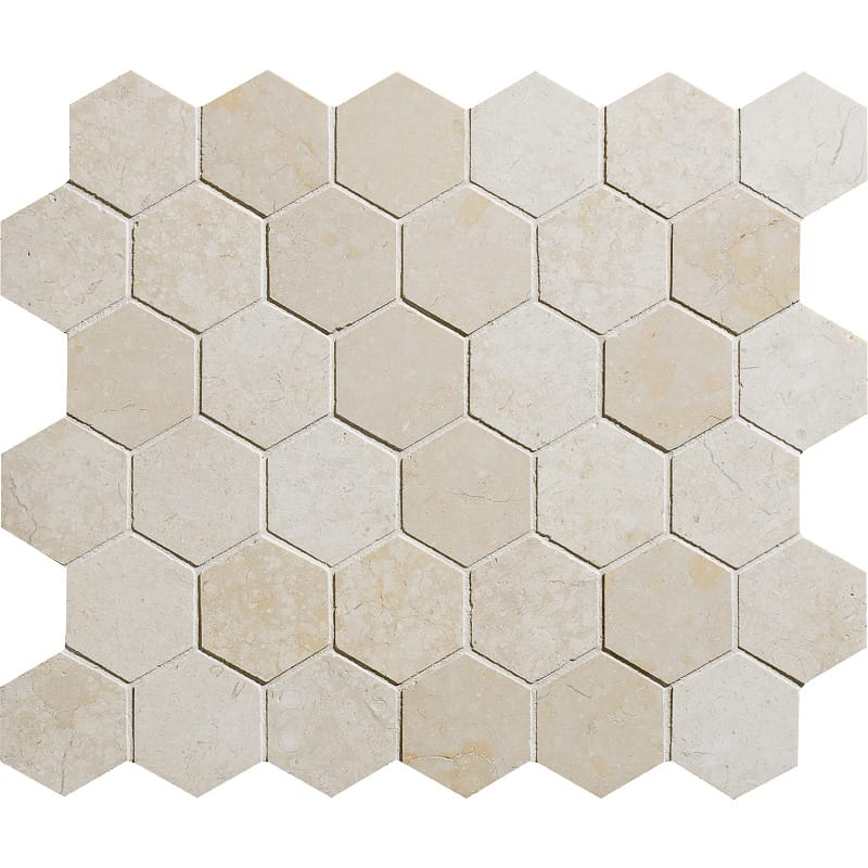 Alexander Cream Honed 10 3/8x12 Hexagon Marble Mosaics