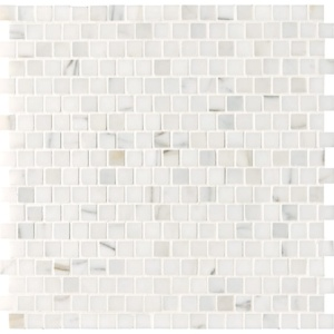 Calacatta Gold Honed Offset 5/8x5/8 Marble Mosaics 12x12