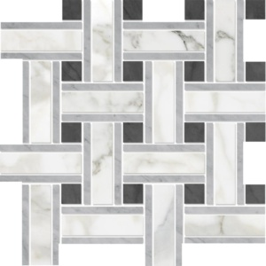 Calacatta Gold Honed Lattice Marble Mosaics 12x12