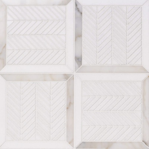 Thassos White, Calacatta Gold Honed Lucca Marble Mosaics 12 1/16x12 1/16