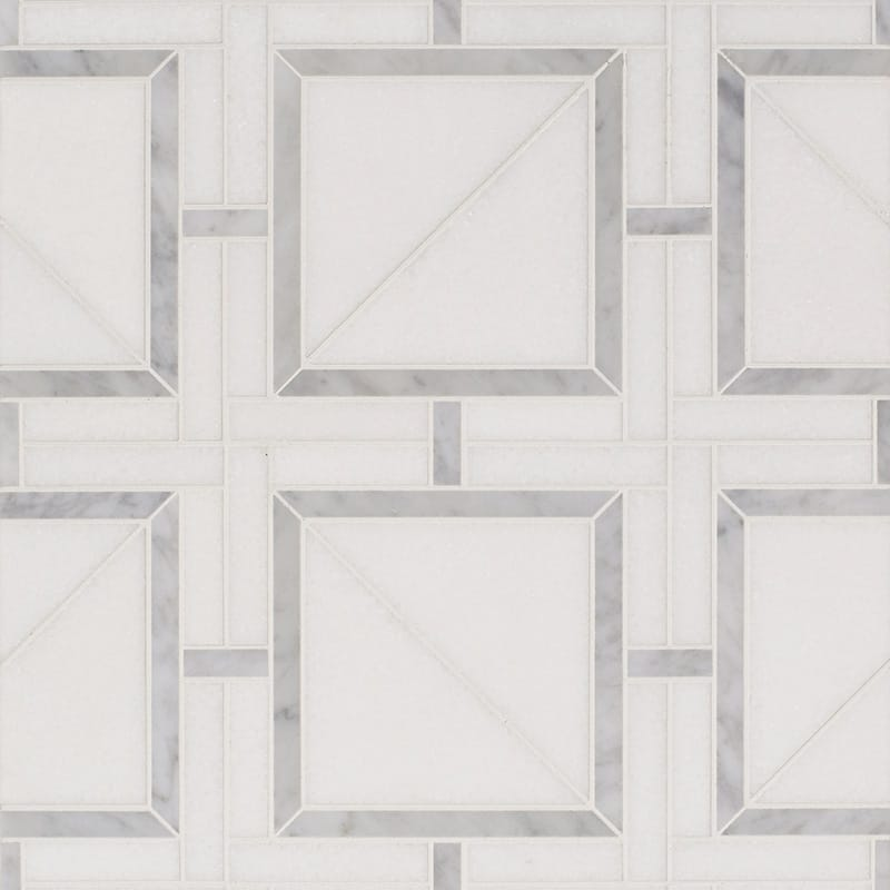 Thassos White, White Carrara Multi Finish Magra Lattice Marble Mosaics 11 11/16×11 11/16