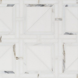 Thassos White, Calacatta Gold Honed Magra Lattice Marble Mosaics 11 11/16x11 11/16