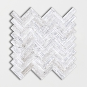 Haisa Blue Honed Herringbone Marble Mosaics 12 1/8x13 3/8
