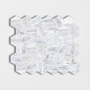 Haisa Blue Honed Hexagon Marble Mosaics 12x12