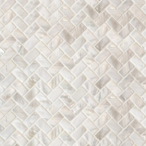 Mother Of Pearl Polished 5/8x1 1/4 Herringbone Iridescent Shell Mosaics 10 5/8x11 7/32