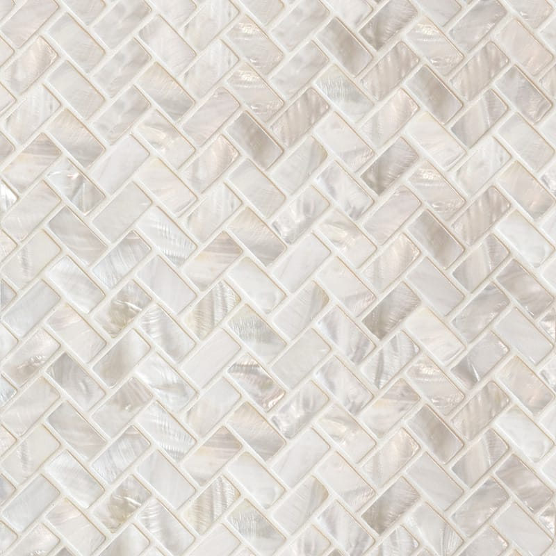 Mother Of Pearl Polished 5/8×1 1/4 Herringbone Iridescent Shell Mosaics 10 5/8×11 7/32