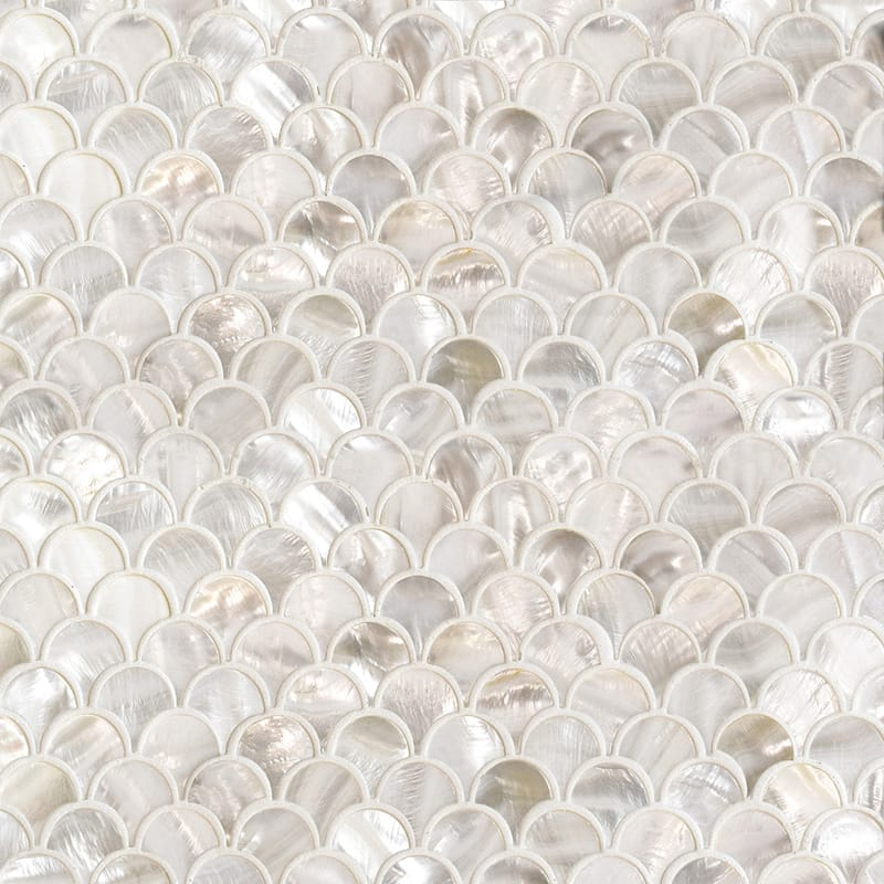 Mother Of Pearl Polished Scallop Iridescent Shell Mosaics 12×12