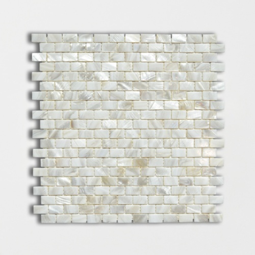 Mother Of Pearl Polished 3/5x1 Mini Staggered Iridescent Shell Mosaics 12x12