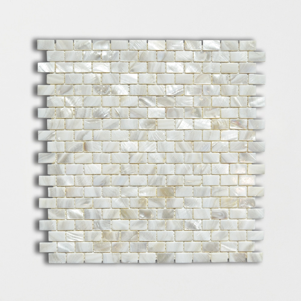 Mother Of Pearl Polished 3/5×1 Mini Staggered Iridescent Shell Mosaics 12×12